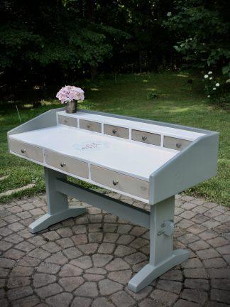 Trestle desk, floral, soft green, cream