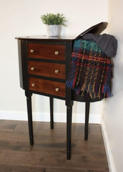 Entry table, black and stain, 3 drawer and 2 compartments
