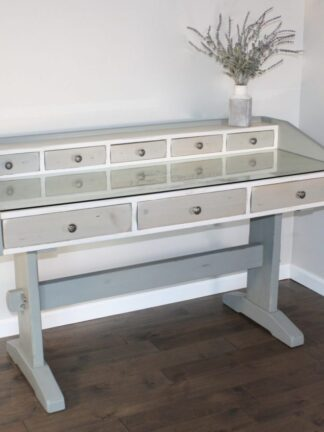 Trestle style desk with French stencil