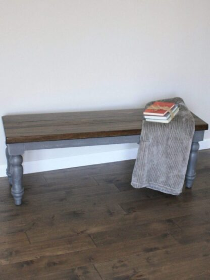 Farm style bench, gray with stain top