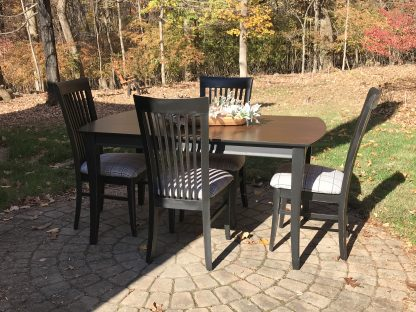 upcycle dining table and 4 chairs, black distressed finish