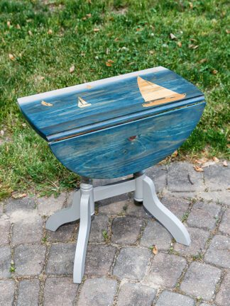 Drop leaf side table, sailboat, blue and taupe