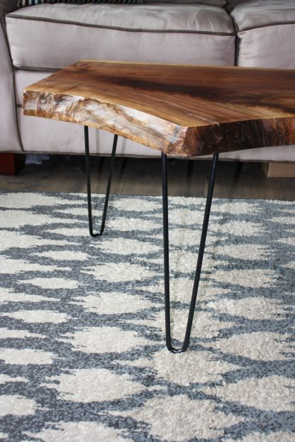 Walnut live edge coffee table with hairpin legs